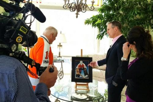 Tony with Bernie Parent discussing his NHL top 100 portrait at The Governor Generals residence,  Rideau Hall